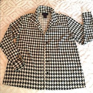 QVC Houndstooth Button Down Top